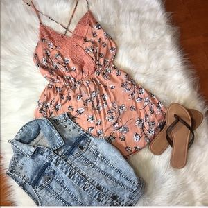 Coral peach floral romper small blue flowers